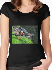 A Pair Of Mandarin Ducks Women's Fitted Scoop T-Shirt