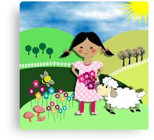 Mary Had A Little Lamb Cute Whimsy Illustration Canvas Print