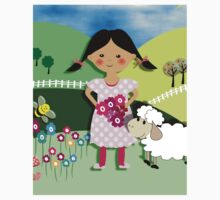 Mary Had A Little Lamb Cute Whimsy Illustration One Piece - Long Sleeve