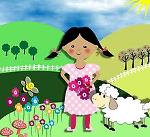 Mary Had A Little Lamb Cute Whimsy Illustration by Artification