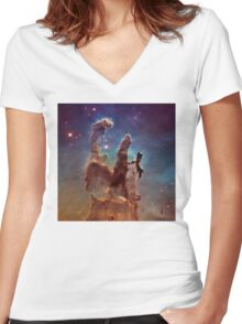 Pillars of Creation, Eagle nebula, space exploration Women's Fitted V-Neck T-Shirt