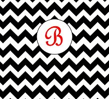 Red B Chevron by MonogramMonkey