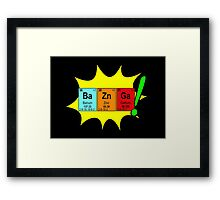 Bazinga! Humorous colorful chemistry geek design Framed Print