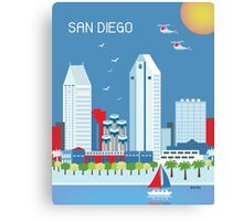 San Diego - Skyline Illustration by Loose Petals Canvas Print