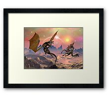 Fantasy Landscape with Dragons Framed Print