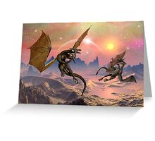 Fantasy Landscape with Dragons Greeting Card