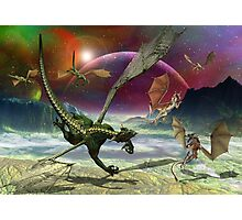 Fantasy Landscape with Dragons Photographic Print