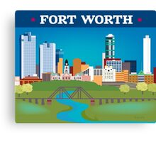 Fort Worth - Collage Illustration by Loose Petals Canvas Print