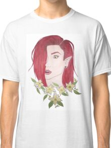 Floral Red Elvish Girl Classic T-Shirt