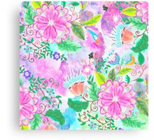 Colorful pink green watercolor hand painted floral Canvas Print