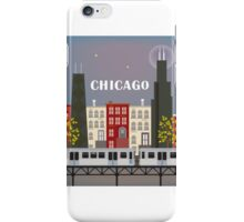 Chicago Train - Skyline Illustration by Loose Petals iPhone Case/Skin