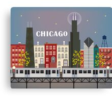 Chicago Train - Skyline Illustration by Loose Petals Canvas Print