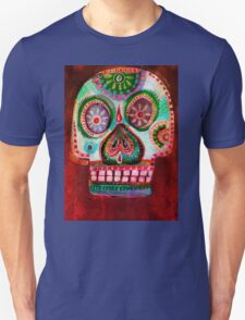 Red Pink Sugar Skull Art -  Day of the Dead T-Shirt