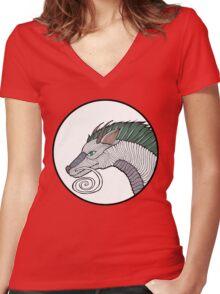 Haku Dragon Doodle Women's Fitted V-Neck T-Shirt