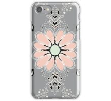 Peach flowers - black outline iPhone Case/Skin