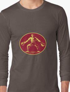 Athlete Lifting Kettlebell Oval Woodcut Long Sleeve T-Shirt