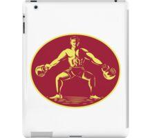 Athlete Lifting Kettlebell Oval Woodcut iPad Case/Skin