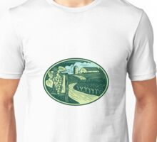 Grapes Vineyard Winery Oval Woodcut Unisex T-Shirt