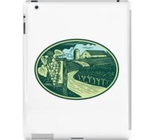 Grapes Vineyard Winery Oval Woodcut iPad Case/Skin