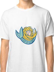 Mermaid Blowing Shell Circle Retro Classic T-Shirt