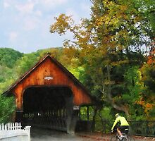 Bicyclist by Middle Bridge Woodstock VT by Susan Savad