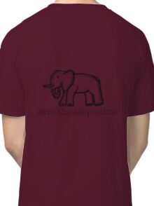Save The Elephants Hand Drawn Classic T-Shirt