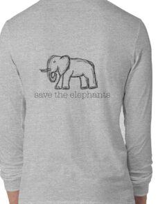 Save The Elephants Hand Drawn Long Sleeve T-Shirt