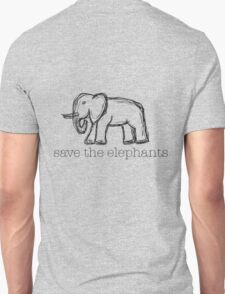 Save The Elephants Hand Drawn T-Shirt