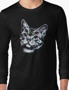 Psychedelic Cat (3D vintage effect) Long Sleeve T-Shirt