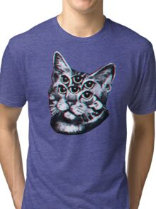 Psychedelic Cat (3D vintage effect) Tri-blend T-Shirt