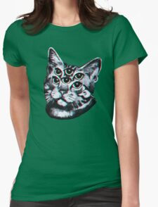 Psychedelic Cat (3D vintage effect) Womens Fitted T-Shirt