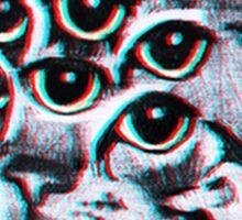 Psychedelic Cat (3D vintage effect) Sticker