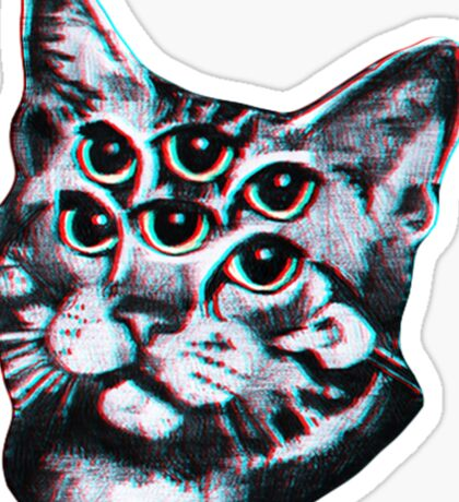Psychedelic Cat (3D vintage effect) Sticker