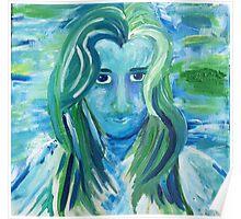 """""""I'm Alive"""" Blue Woman Portrait Poster"""