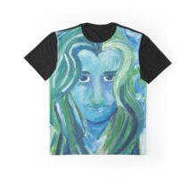 """""""I'm Alive"""" Blue Woman Portrait Graphic T-Shirt"""