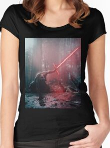 Kylo Ren and Vader's Mask Portrait Women's Fitted Scoop T-Shirt