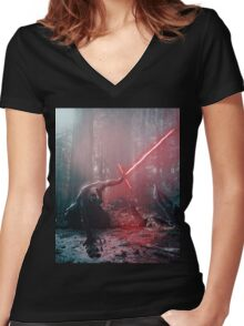 Kylo Ren and Vader's Mask Portrait Women's Fitted V-Neck T-Shirt