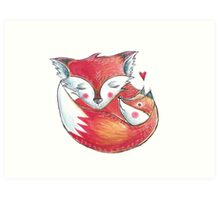 Fox Love Watercolor Art Print