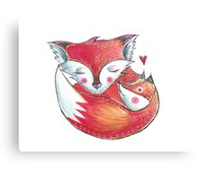 Fox Love Watercolor Canvas Print