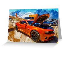 New Chevy Camaro and Vintage Airplane  Greeting Card