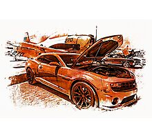 New Chevy Camaro and Vintage Airplane  Photographic Print