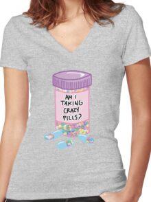 Crazy Pills Zoolander sprinkles weird pills tumblr meme print Women's Fitted V-Neck T-Shirt