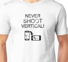 Never Shoot Vertical (Black) Unisex T-Shirt