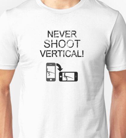 Never Shoot Vertical (Black) Unisex T-Shirt