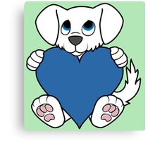 Valentine's Day White Dog with Blue Heart Canvas Print