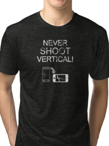 Never Shoot Vertical (White) Tri-blend T-Shirt