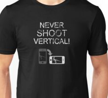 Never Shoot Vertical (White) Unisex T-Shirt