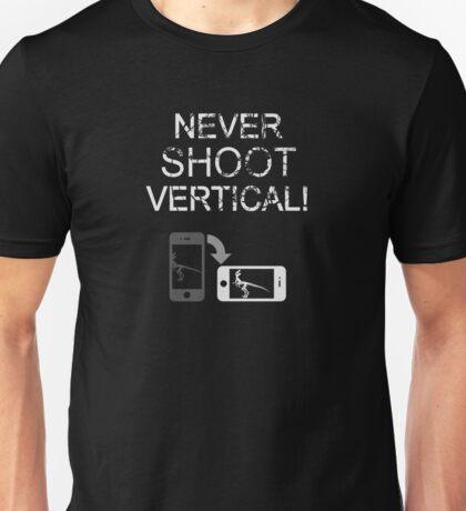 Never Shoot Vertical (White) Unisex T-Shirt