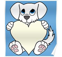 Valentine's Day White Dog with Cream Heart Poster