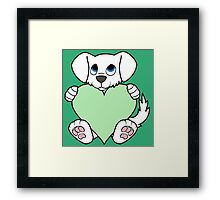 Valentine's Day White Dog with Light Green Heart Framed Print